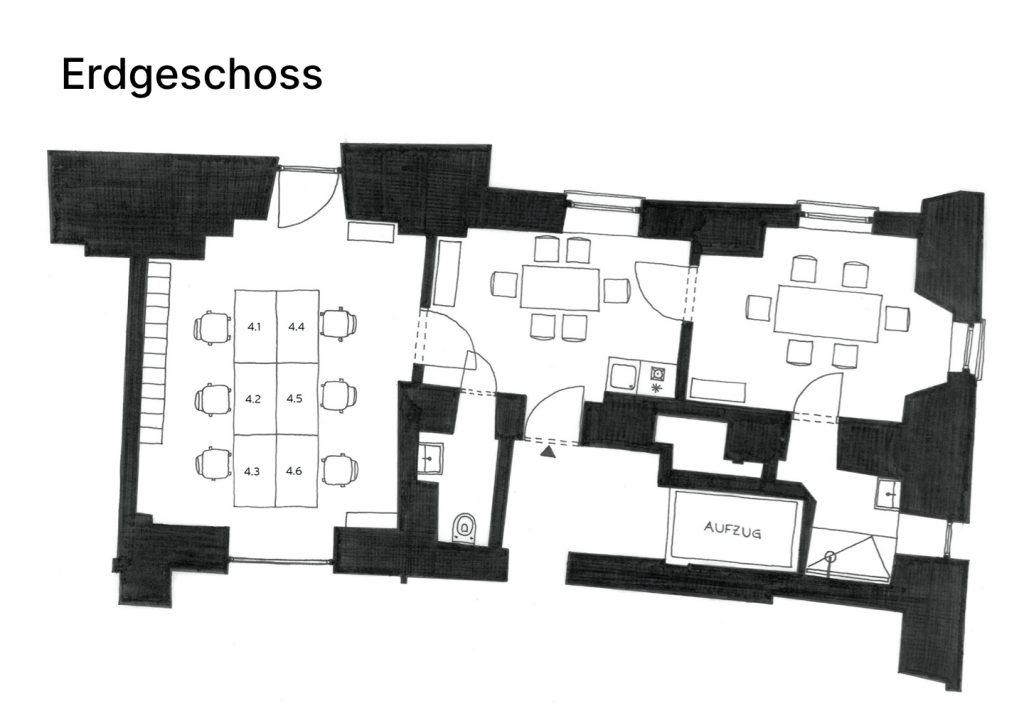 Kipferlhaus Büroplan Erdgeschoss